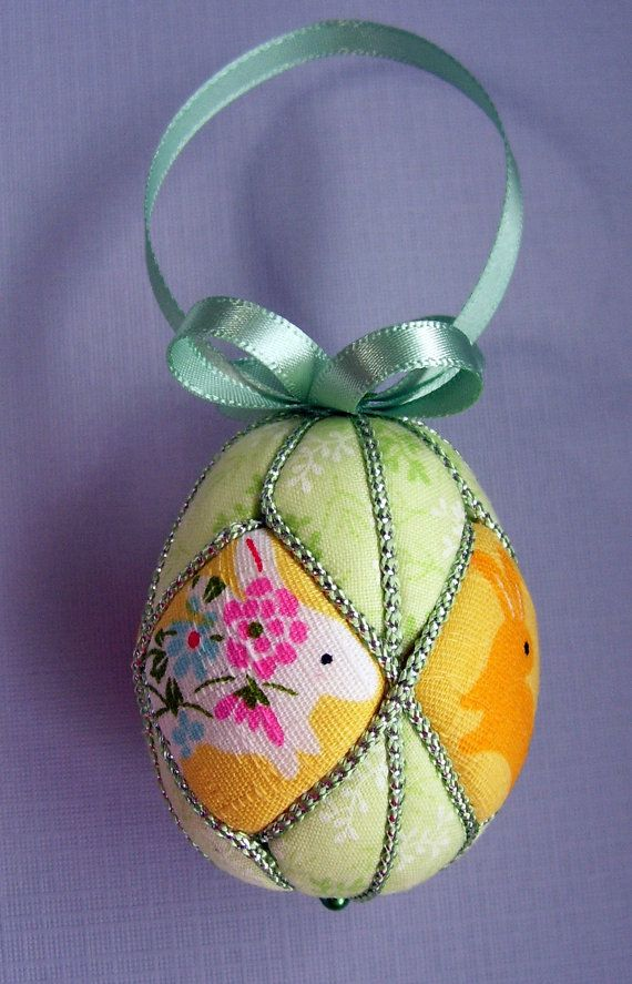 Cute Bunnies Kimekomi Easter Egg Ornament by Ornament Designs