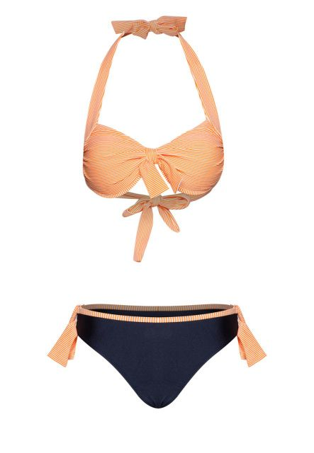 Nautical Chic Stripe Bikini~ Look sporty and chic in this stunning nautical bikini set by HAWAII featuring classical stripes with sophisticated design for a touch of modern edge. The bikini top contains push-up padding and halter neckline to enhance your feminine curves along with matching bottoms detailed with chic side ties.