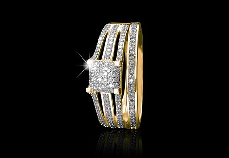 The square shaped wedding set is an ultra-modern wedding set made from 9ct yellow gold set with 0.40ct of diamonds which is also available in white gold.