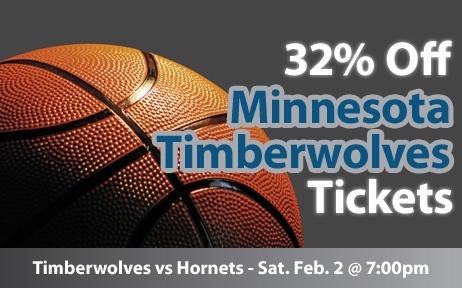 $25 (32% off) Minnesota Timberwolves Tickets vs New Orleans Hornets Sat. Feb. 2 @ 7:00pm - Crowd Seats Cheap Sports Tickets