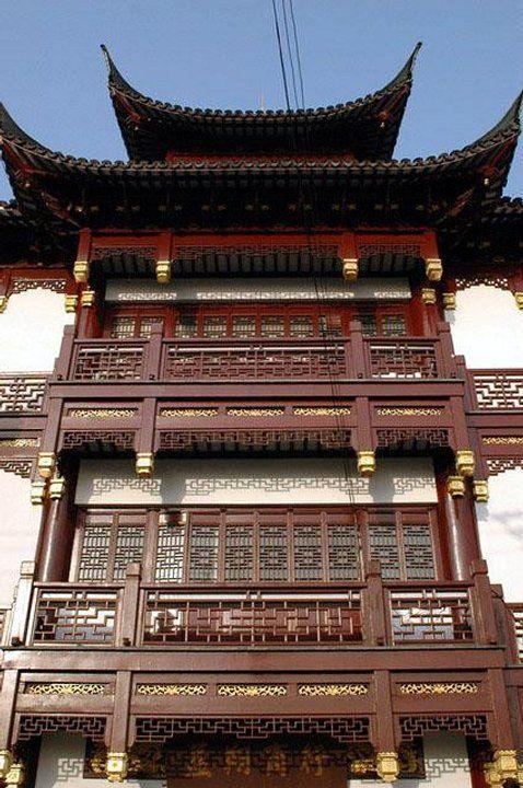 Chiny - Szanghaj , typowo chińska zabudowa w Cheng Huang Miao
