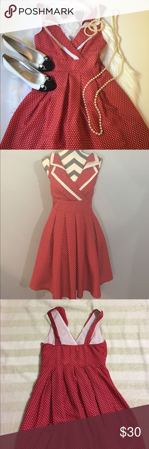 """Anthropologie Minuet Red Polka Dot A-Line Dress Perfect for the summer BBQs. Light weight and flattering.   Gently worn. Excellent condition.                                                     Flatlay Measurements: L 35"""" W 14"""" B 15"""".                                       Material: Polyester 100%                                                                       Brand: Minuet Anthropologie Dresses"""