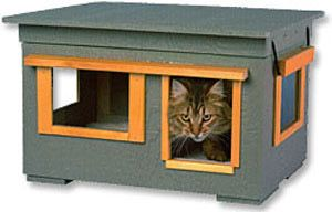 """Insulated Outdoor Cat HouseAppropriate sized door, 5 1/2"""" W x 7 1/2"""" H allows cats to come and go but keeps the larger animals out."""