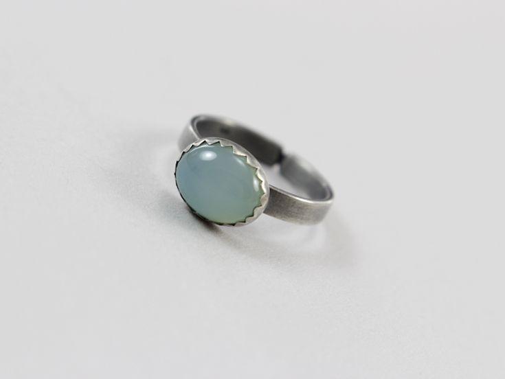Agat aqua w srebrze - pierścionek - ChileArt