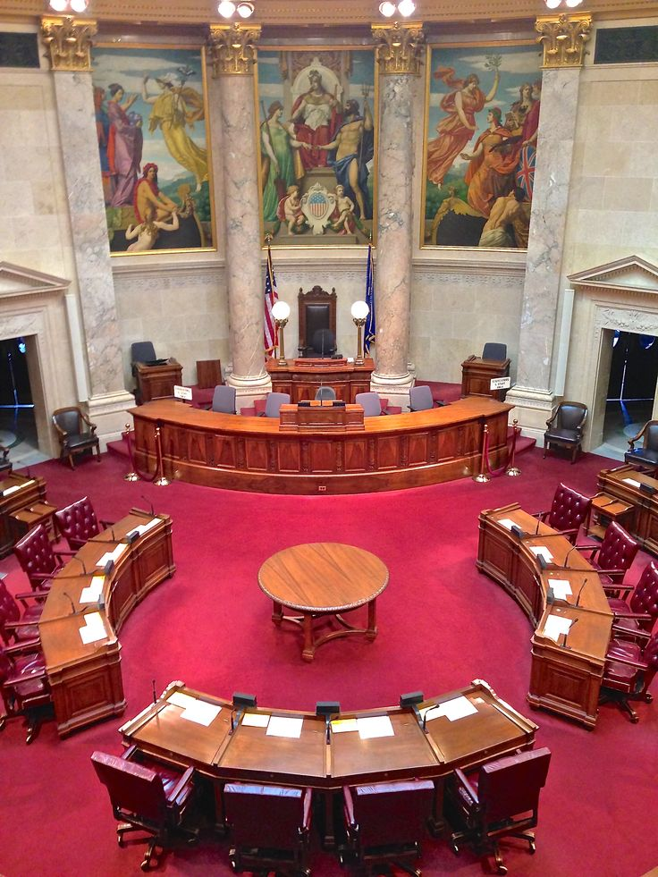Wisconsin's legislature has two houses-- the Assembly & Senate.  The Senate is comprised of 33 Senators who are elected  for four-year terms.  The Senators meet in this chamber to consider bills.  Learn more at http://legis.wisconsin.gov/senate/.
