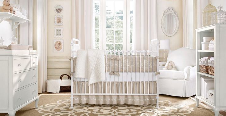French country style nursery. Tan gender neutral nursery. Love the simplicity.