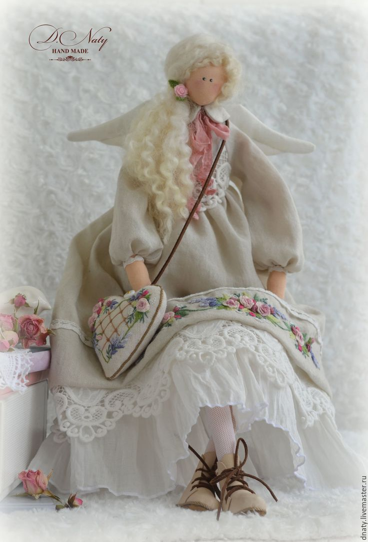 Купить Ангел ФЛОРЕНСА - бежевый, розовый, айвори, тильда, кукла Тильда, ангел тильда
