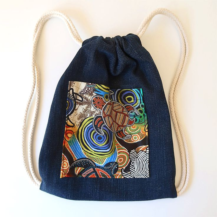 """Very simple drawstring bag from upcycled denim. Our son loves it! """"Just like mama's"""" :D #handmade #upcycle #kids"""