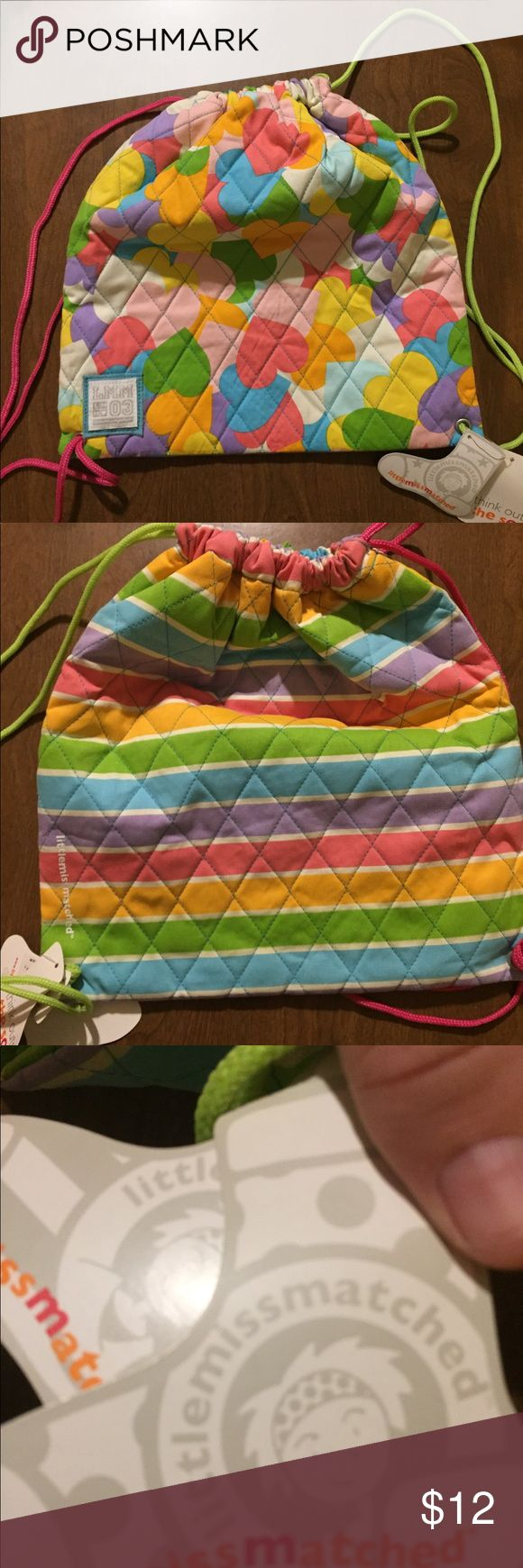 Colorful drawstring backpack NWT little miss matched Bags Backpacks