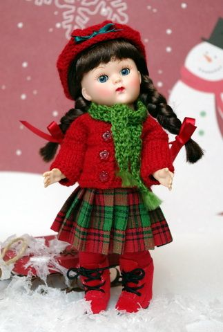 """**WiNTeR BeRRy**...a 5 PC Hand Knit Clothing Outfit for Vogue Ginny Dolls in the 7.5"""" size. Only ONE set available now for instant purchase. Click the pix to take you there."""