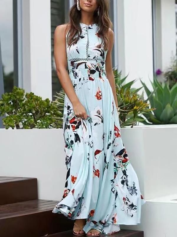 0c34b8439 Bohemia Floral Halterneck Backless Split-side Maxi Dress