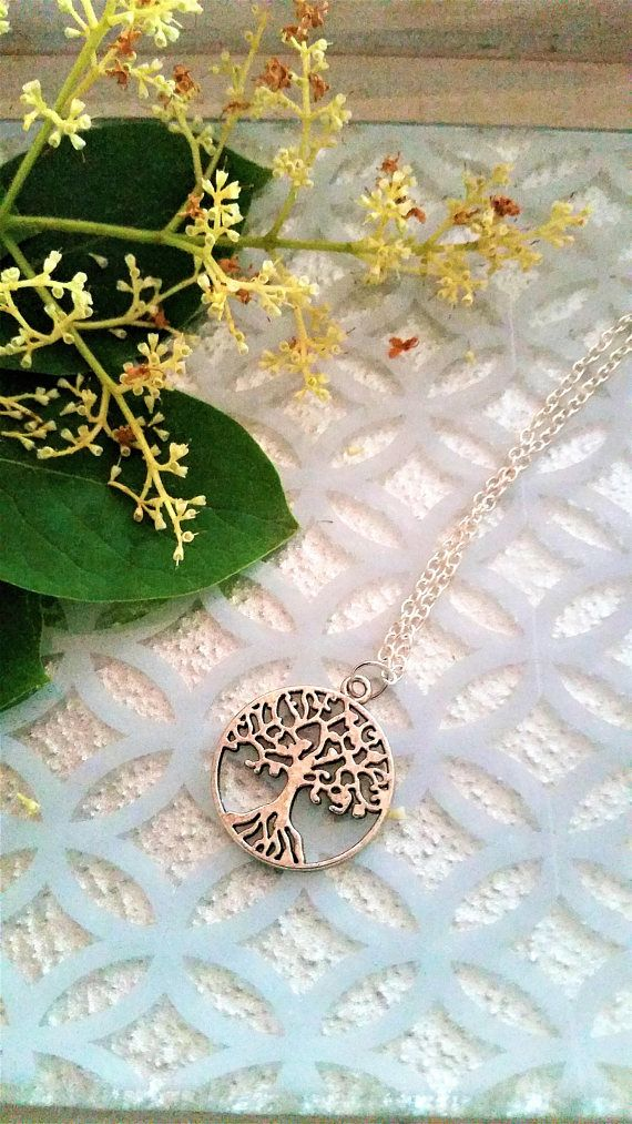 Tree charm necklace  tree/nature/leaves circular pendant