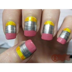 Pencil Eraser Fingernail Art~  Whimsical and way too much work for me.  But, isn't it clever?!  Check out the how-to @ The Daily Nail.