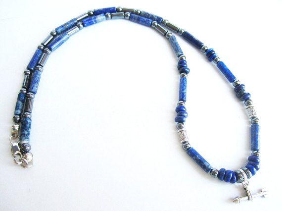 Mens arrow necklace lapis lazuli necklace mens by Bravemenjewelry