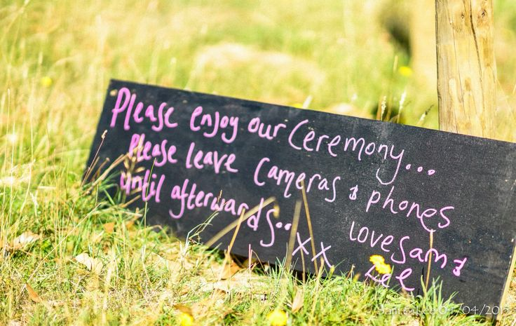wedding ceremony no phones please board. Wedfest 2015