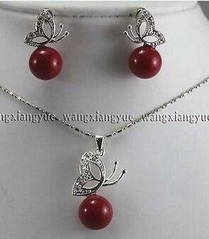 12 мм красный юг морские раковины жемчужные серьги и ожерелья комплект ааа стиль > прекрасный женская свадебные украшения довольно