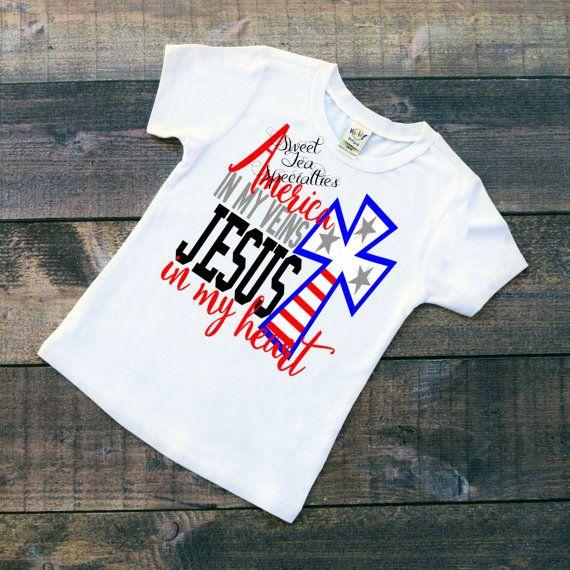 America in my Veins Jesus in my Heart Baby by SweetTeaSpecialties