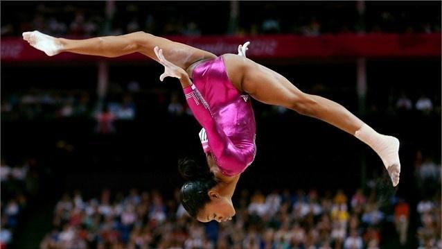 USA's Gabrielle Douglas following her balance beam routine