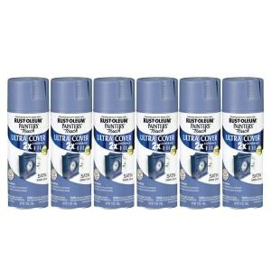 For side table: Painter's Touch 12 oz. Satin Slate Blue Spray Paint (6-Pack)-182695 at The Home Depot