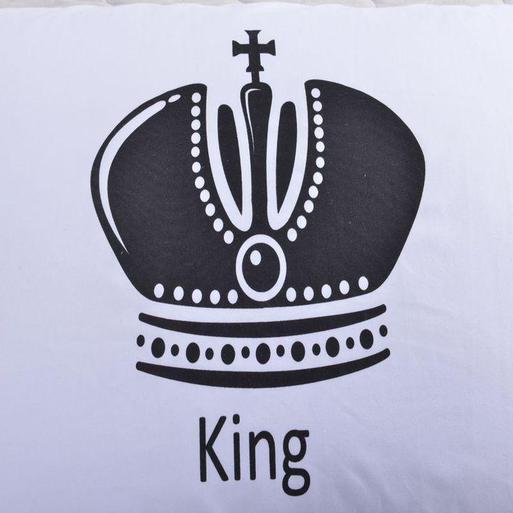 2 шт. Royal Crown постельные принадлежности Наволочки Королева Король Кот Дизайнер Наволочки белые наволочки купить на AliExpress