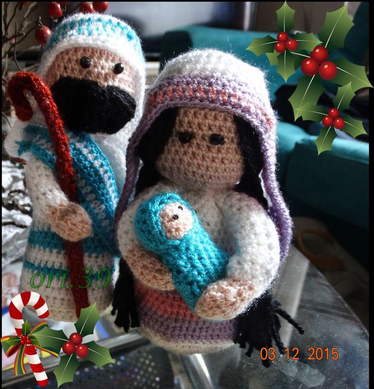jose,maria y niño jesus a ganchillo
