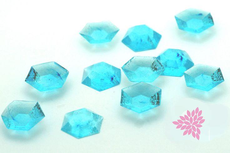 Sugar Jewels, Cake Bling! Light Blue Edible Hexagon Gems, 19mm