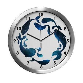 Aquatic Galaxy Clock Modern Wall Clock from cafepress store: AGPaintedBrushT-Shirts. #space #clock #fish