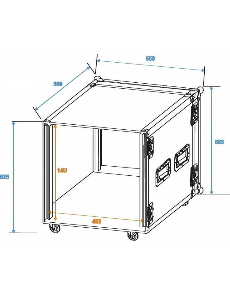 ROADINGER Amplifier rack PR-2, 14U, 47cm, wheels - PLS Nederland