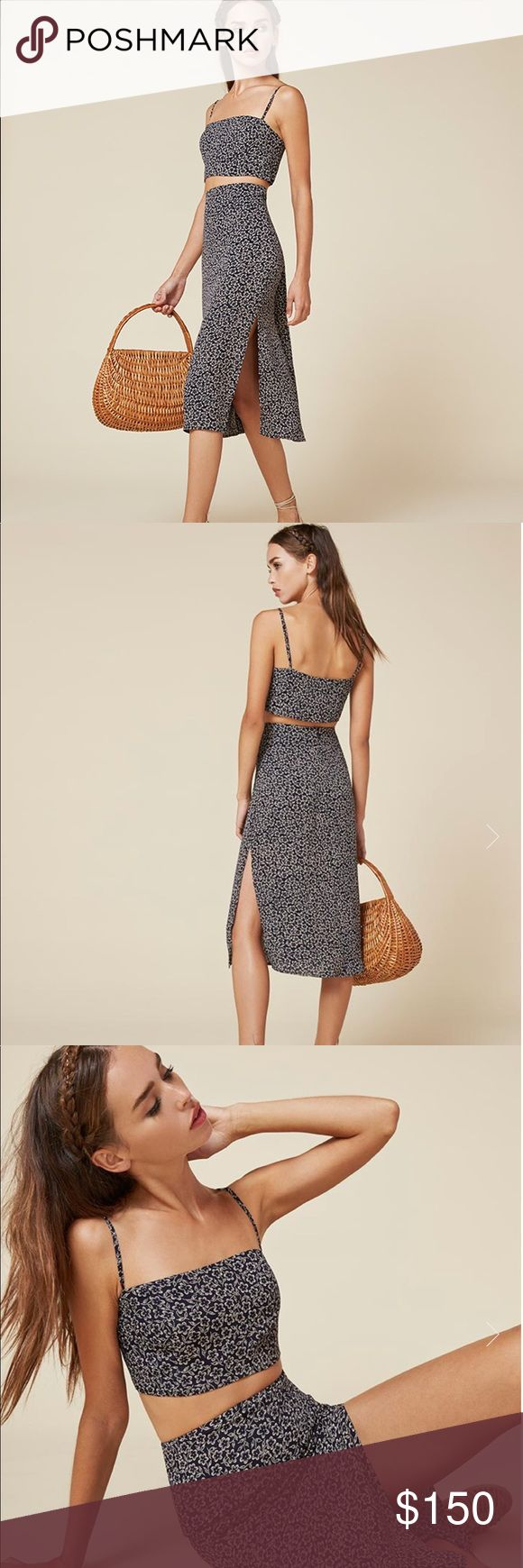 Reformation Ace Two Piece Better together. This is a two piece set with a cropped top and a slim fitting, straight skirt. - Adjustable straps- Hits below knee- Slim fit skirt- Straight neck- Very cropped Reformation Dresses