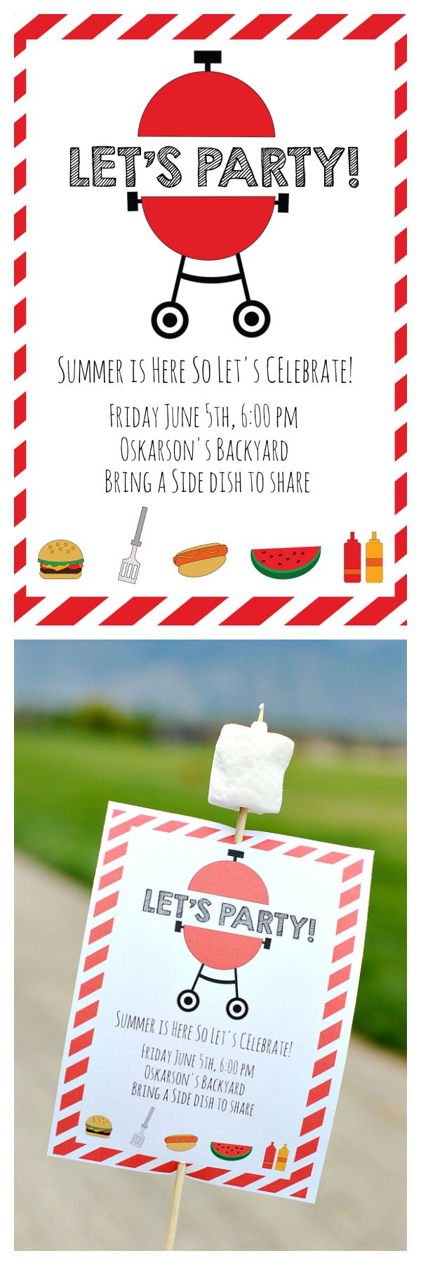 Free Printable Summer BBQ Invitations and a Cute Idea to Present Them!