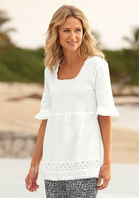 Square neckline good for all necks except long.  Avoid if you have a square jawline.  3/4 sleeves cover arms, and draw attention to waist. Casual/Romantic personal style.