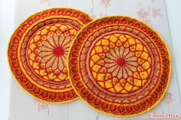 Совместное вязание коврика-сидушки часть 1