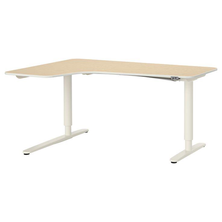 BEKANT Ecktisch links sitz-/steh - Birkenfurnier/weiß - IKEA