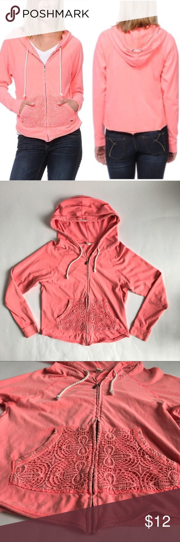 Roxy Crochet Zip Up Hoodie Neon Coral This hoodie has such lovely detail. The color is beautiful. The rope ties and crochet pockets add intriguing detail. It is a size small. Roxy Tops Sweatshirts & Hoodies