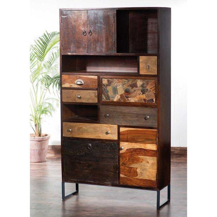 Wohnzimmer Schrank Mindnight in Braun aus Holz im rustikalen Loft Design