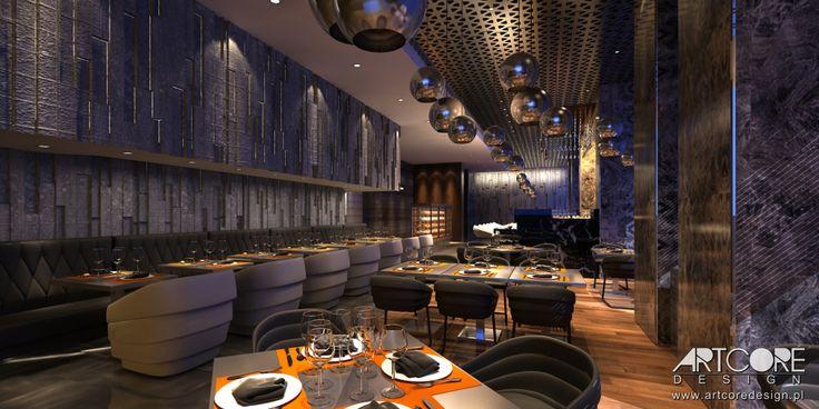 Wnętrze pięknej i nastrojowej restauracji. Więcej na www.artcoredesign.pl .
