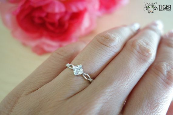 1/2 Carat Princess Solitaire Ring Infinity Style by TigerGemstones