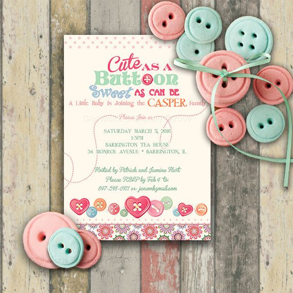 Cute As A Button Baby Shower Invitations 10 By GigiMarieStationery