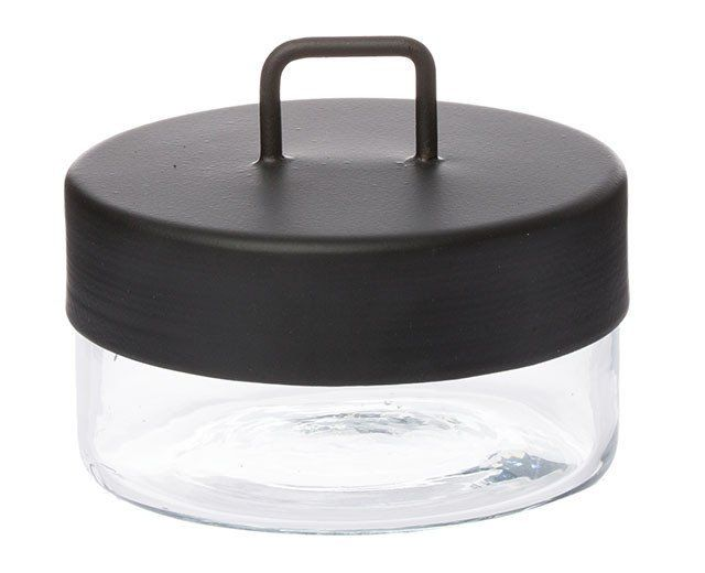 Small glass canister - black powdercoated lid