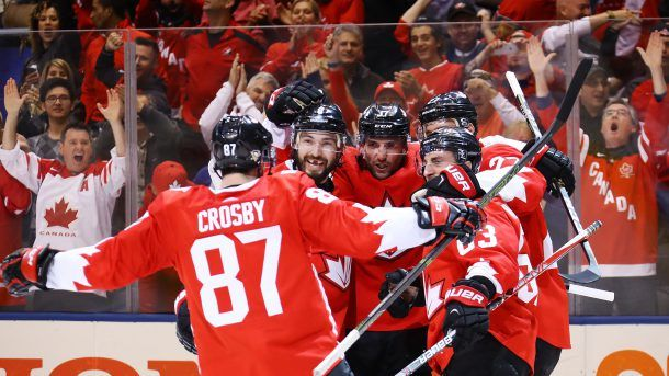 TORONTO, ON - SEPTEMBER 24: Brad Marchand #63 of Team Canada is congratulated by his teammates Sidney Crosby #87, Drew Doughty #8, Patrice Bergeron #37 and Alex Pietrangelo #27 after scoring a second period goal at the semifinal game during the World Cup of Hockey tournament at Air Canada Centre on September 24, 2016 in Toronto, Canada.  (Photo by Bruce Bennett/Getty Images)