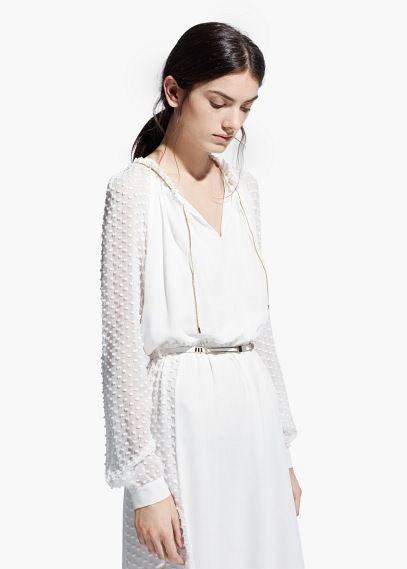 Robe soie plumetis - Robes pour Femme | MANGO Outlet France