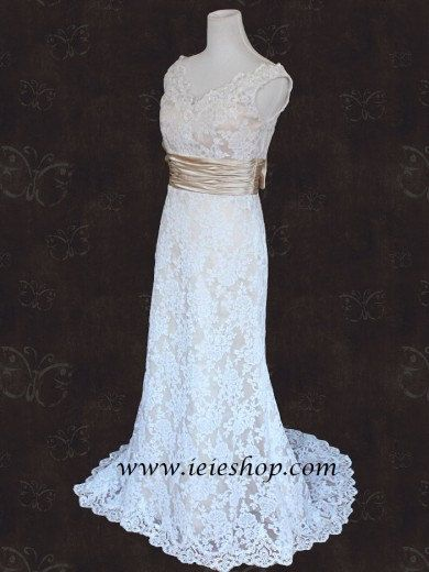 Vintage Style Lace Slim Aline Wedding Gown with V neck and by ieie, $474.95