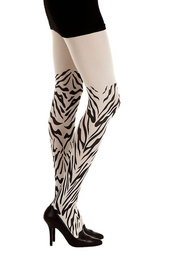 Jungle Speed Print Zebra Tights White & Black