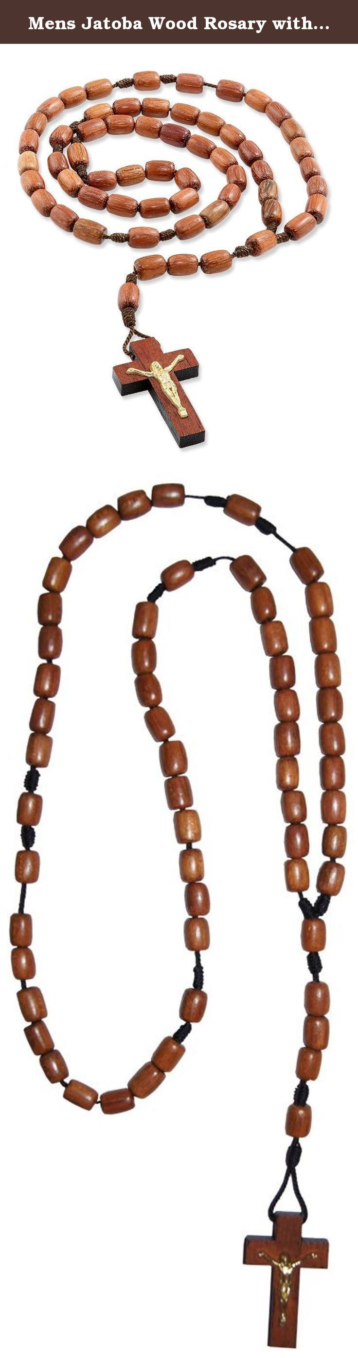 Mens Jatoba Wood Rosary with Brown Cord and Cross, Made in Brazil, 19 Inch. Men's Jatoba Wood Rosary with Brown Cord and Cross Features:- • Solid, genuine jatoba wood rosary in a black color • Ideal for men and can be worn around neck • 19 inches long rosary and in fashion • This rosary is in fashion among all • Perfect gift for any occasion: baptism, first communion, confirmation, wedding • Great gift for men of all ages • Made in Brazil.