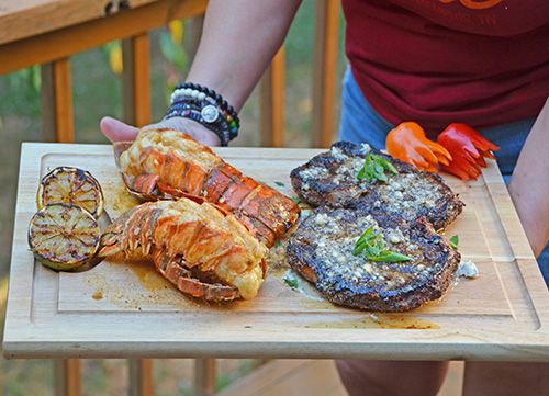Grilled Surf and Turf - Ribeye steaks with Gorgonzola Butter & Lobster Tails with IPA Butter