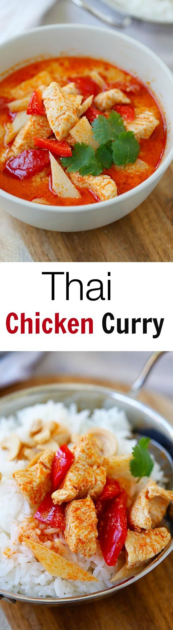 Thai Chicken Curry - homemade Thai chicken curry is SO easy to make with simple ingredients. It's a zillion times better and healthier than takeout! | rasamalaysia.com