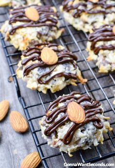 This delicious chewy Almond Joy Cookies are super easy to put together and are loaded with tender coconut and just the right amount of chocolate.