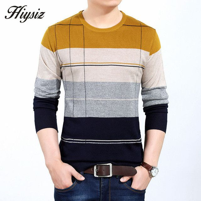 Autumn Winter Warm Sweater Men Knitted Cashmere Wool Pullover Men Fashion Striped O-Neck Pull Male Plus Size