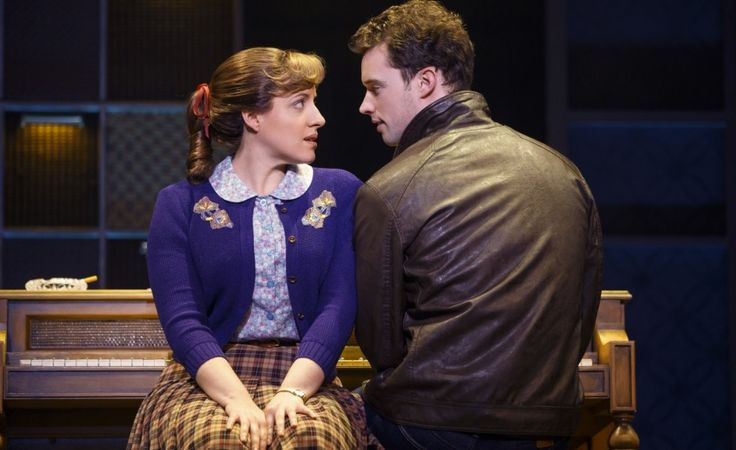 "Abby Mueller (as Carole King) and Liam Tobin (as Gerry Goffin) meet at Queens Collge in New York in ""Beautiful - The Carole King Musical,"" at the Oriental Theatre. (Photo: Joan Marcus) http://www.chicagonow.com/show-me-chicago/2015/12/review-beautiful-the-carole-king-musical/"