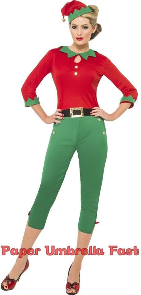Ladies Xmas Vintage Elf Fancy Dress Costume 40s Christmas Santas Helper Outfit | eBay
